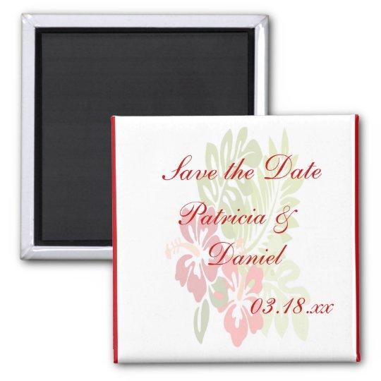 Hibiscus Flowers Wedding Magnet