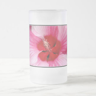 Hibiscus Frosted Glass Beer Mug