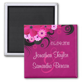 Hibiscus Fuchsia Pink Floral Save The Date Magnets