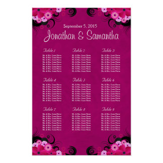 Hibiscus Fuchsia Pink Wedding Table Seating Charts Print
