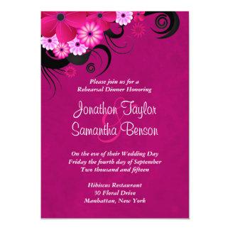 Hibiscus Fuchsia Wedding Rehearsal Dinner Invites Invitations