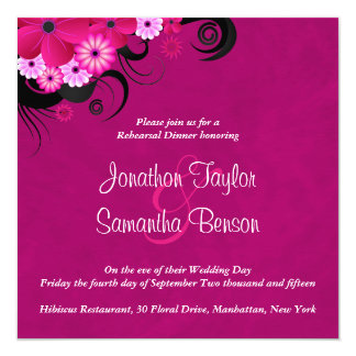 Hibiscus Fuchsia Wedding Rehearsal Dinner Invites Personalized Announcement