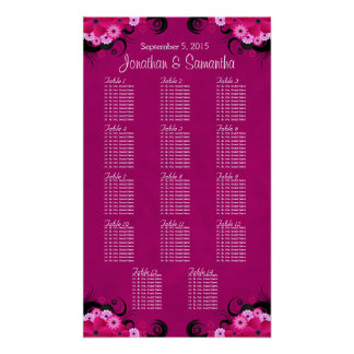 Hibiscus Fuchsia Wedding Table Seating Charts - 14 Posters