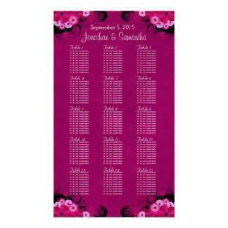 Hibiscus Fuchsia Wedding Table Seating Charts - 15 Poster