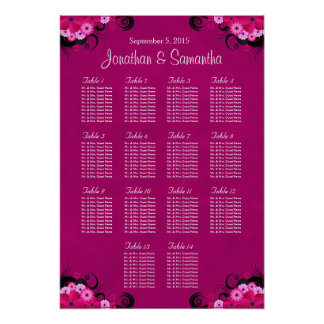 Hibiscus Fuschia Wedding Table Seating Charts - 14 Poster