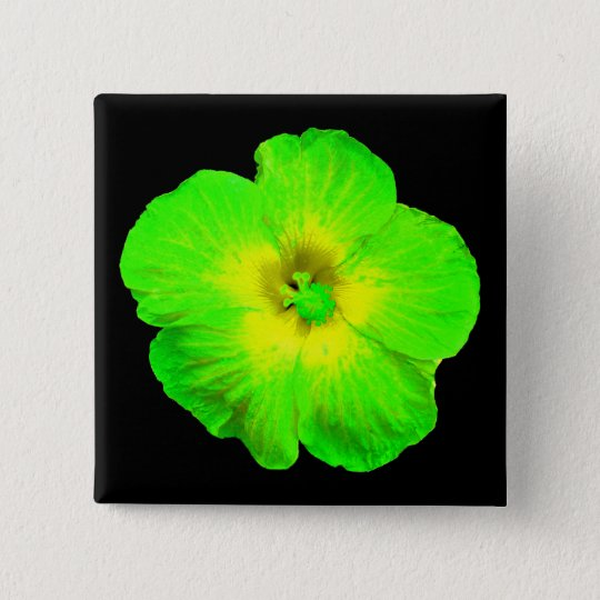 "Hibiscus: Green & Yellow ""Ultraviolet Glow"" Pinback Button"