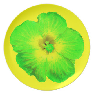 "Hibiscus: Green & Yellow ""Ultraviolet Glow"" plate"