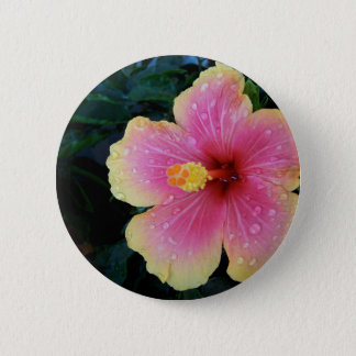 Hibiscus Hawaiian Flower Pinback Button