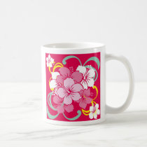 hawaii, flower, pink, hibiscus, cute, pop, illustration, funny, feminine, tropical, summer, surfer, surfing, beach, sea, aloha, coast, paradise, hula, island, illustrations, Caneca com design gráfico personalizado