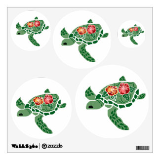 Hibiscus Honu Sea Turtles Wall Decals