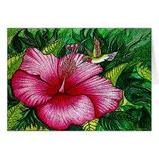 Hibiscus Hummingbird Card