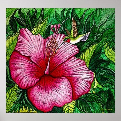 Hibiscus Hummingbird Print print