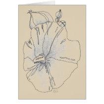 Hibiscus in pale ochre card