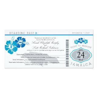 Hibiscus Jamaica Boarding Pass Wedding Card