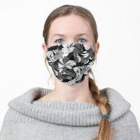 Hibiscus Jungle Hawaiian Tropical Floral - Black Cloth Face Mask