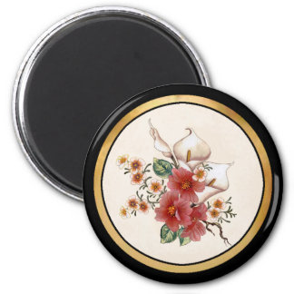 Hibiscus & Lily 2 Inch Round Magnet