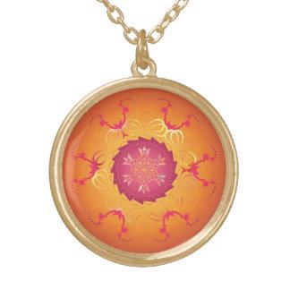 Hibiscus Mandala Keepsake Charm Gold Plated Necklace
