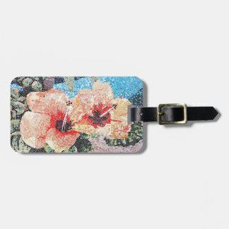 Hibiscus mosaic luggage tag