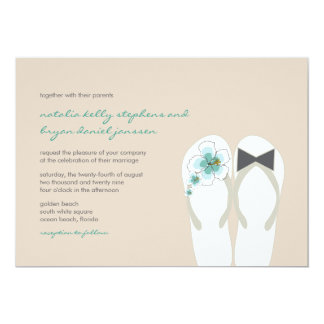 Hibiscus Mr & Mrs Flip Flops Beach Wedding Invite