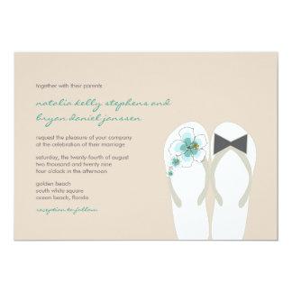 Hibiscus Mr & Mrs Flip Flops Beach Wedding Invite