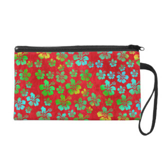 Hibiscus Multicolor Flowers on Red Wristlets