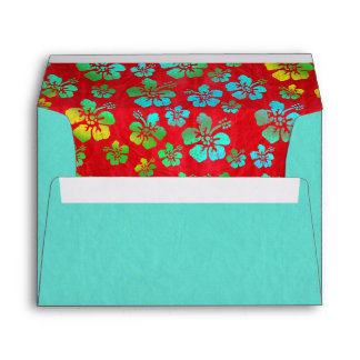 Hibiscus Multicolor Flowers on Red Envelopes