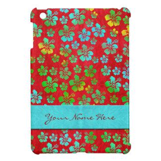 Hibiscus Multicolor Flowers on Red iPad Mini Case