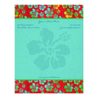 Hibiscus Multicolor Flowers on Red Letterhead