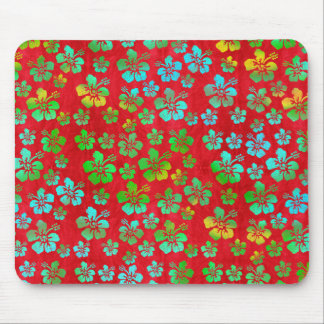 Hibiscus Multicolor Flowers on Red Mouse Pad