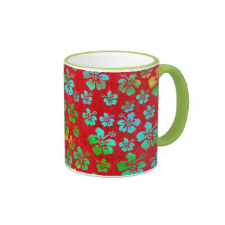 Hibiscus Multicolor Flowers on Red Mugs