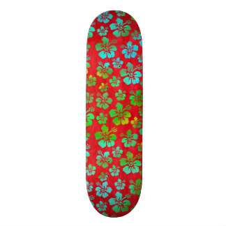 Hibiscus Multicolor Flowers on Red Skateboard