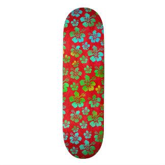Hibiscus Multicolor Flowers on Red Skate Board Decks