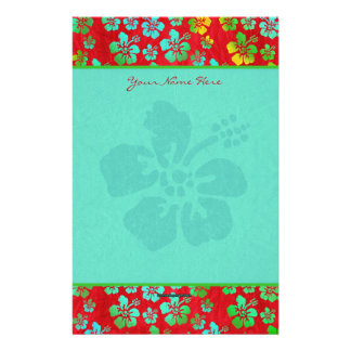 Hibiscus Multicolor Flowers on Red Stationery