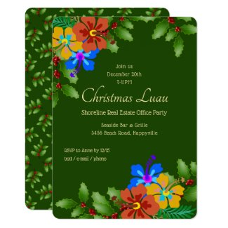 Hibiscus n Holly Christmas Office Party Invitation