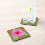 Hibiscus on Bamboo Drink Coaster