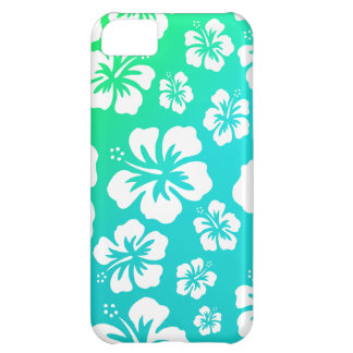 Hibiscus on Blue Green Case For iPhone 5C