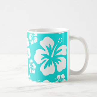 Hibiscus on Blue Green Coffee Mug