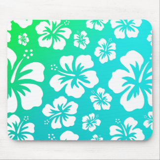 Hibiscus on Blue Green Mouse Pads