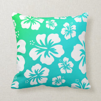 Hibiscus on Blue Green Pillows