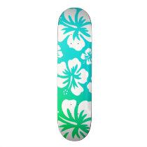 Hibiscus on Blue Green Skateboard Deck