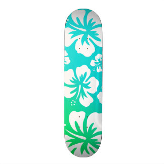 Hibiscus on Blue Green Skateboard Deck
