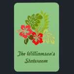 """Hibiscus on Green Stateroom Door Marker Magnet<br><div class=""""desc"""">Tropical Hibiscus on Green background Cabin Door Marker. Personalize with your name, or substitute any text you like in place of the sample text. A thoughtful bon voyage gift! Cruise Ships keep getting bigger and bigger. The hallways with longer and longer rows of cabin doors that all look alike.! Mark...</div>"""