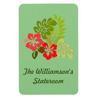 Hibiscus on Green Stateroom Door Marker Rectangular Photo Magnet