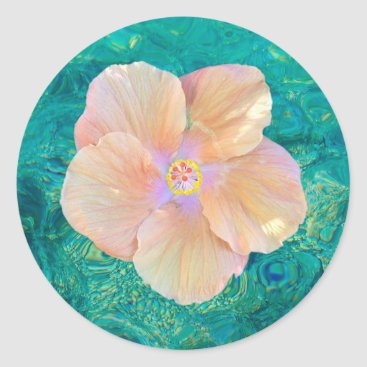 Beach Themed Hibiscus on water sticker