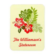 Hibiscus on Yellow Stateroom Door Marker Magnet