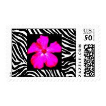 Hibiscus on Zebra Print Stamp