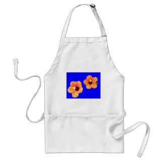 Hibiscus Orange Blue bg The MUSEUM Zazzle Gifts Adult Apron