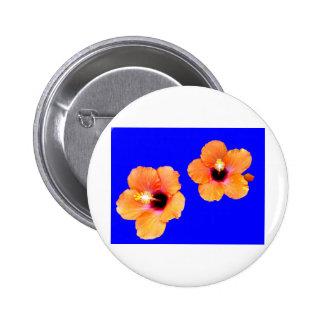 Hibiscus Orange Blue bg The MUSEUM Zazzle Gifts Pinback Button