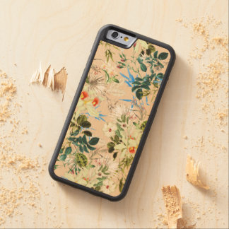 Hibiscus, Orchid, Rosebuds - White Blue Green Carved® Maple iPhone 6 Bumper