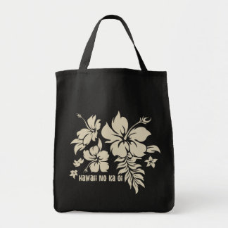 Hibiscus Pareau Hawaiian Floral in Tan for Totes